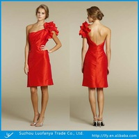 New arrival custom made sexy one shoulder  backless with flowers decorate  prom dress