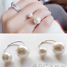 New Arrival  Fashion Jewelry  Adjustable double simulated pearl ring  For women 2R169