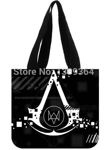 Fashion girl and women shopping bag two side watch dogs logo printed canvas tote bag(China (Mainland))