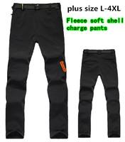brand 2014 new fashion soft shell fleece men's women's hiking sports pants winter outdoor camping waterproof climbing trousers