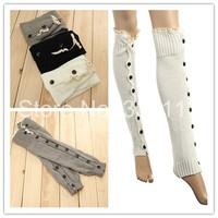 Hot Sale!!3 Colors Women Knee High Knit Flat Button Down Crochet Lace Trim Leg Warmers Boot Socks