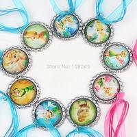 50pcs/lot 2014 New Arrival 46cm Princess Tinker Bell Bottle Caps Necklace Girls Ribbon Cartoon Characters Pendants Necklace