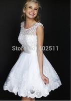 Short Wedding Dresses Beading Natural Waistline Appliques Lace Knee-length Sleeveless Crew Zipper Bridal Dresses Free Shipping