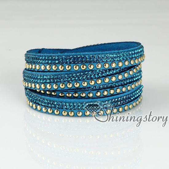 Estilo punk cristal rivet parafuso saciar pulseiras pulseira de strass brilhante bling bling dupla camada pulseiras envoltório pulseiras()