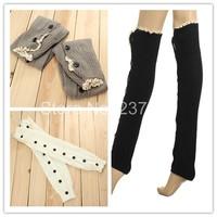 New Arrival Women New Knee High Knit Flat Button Down Crochet Lace Trim Leg Warmers Boot Socks