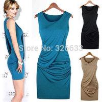 1pcs/lot soft Ladies Sexy Bodycon Sleeveless graceful draped brief Evening Dress o-neck Party Dress Black/ blue M, L free ship