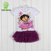 LittleSpring Retail Girls Dresses! Girl Dora suit the princess dress girls clothing Short sleeve dress