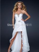 Two kinds of tees MINI Wedding Dresses Sweetheart Sleeveless Natural Waist Zipper A-line Big Tail Chiffon Bridal Dresses