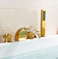 Deck Mounted Waterfall Bathroom Tub Mixer Faucet Widespread 5pcs Bathtub Tub Faucet with Three Handles