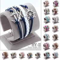 New Handmade Chrismas Wristband Wax Cords Infinity Love Cross Anchor Owl Hungry Games Leather Charms bracelets & Bangles Jewelry