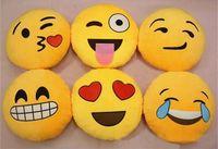 Soft Emoji Smiley Emoticon Yellow Round Cushion Pillow Stuffed Plush Toy Doll