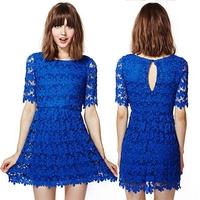 Women Lace Dresses Elegant Floral Mini Dress Casual Summer Blue Embroidery Party Dresses Plus Size Clothing Vestido De Renda Z75