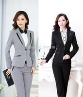 2014 Uniform Style Formal Pantsuits Autumn Winter Elegant Grey Business Work Wear Pants Suits For Ladies Office Clothing Set 4XL