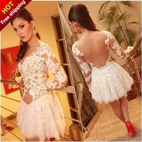 Free Shipping 2014 Yellow Vestidos De Fiesta A Line Lace Backless Full Sleeve Prom Dresses Cocktail Dresses Party Dress MDf003