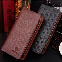 Free shipping brand fashion men's genuine leather wallet double zipper clutch purse travel long wallets bag wholesale passport