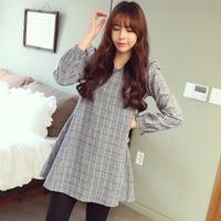 2014 Winter Maternity Dress Plus Size Plaid Dress Maternity Free Shipping c1254