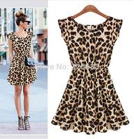 1pcs/lot Vestidos Free Shipping Women's casual leopard Dresses Elegant vintage ruffle sleeve Pinup Loose Summer Mini dress