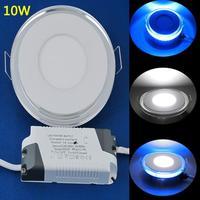 Free Shipping 3 Modes Recessed LED 10W Panel Light Downlight 3 Colors(White/Blue/White+Blue) LEDTD007