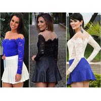 2015 Sexy Lace Women Blouses Fashion Casual Floral Mesh Blusas See-through Slash Neck Basic Shirts White Slim Black Tops CS4309