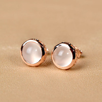 Very Thailand imported 925 silver earrings natural moonstone earrings gold-plated wild Korean fashion earrings