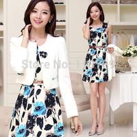 2014 New Autumn Dress Women's Printing High Waist Slim Long-Sleeved  Temperament Ttwo-Piece Dress Ladies Winter Dresses Women