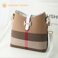 2014 New PU Leather Plaid bag Women Handbag High quality Fashion Bucket Bag Famous Designers Brand handbags Women Messenger Bags
