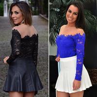 New 2015 Sexy Women Slash Neck Blouses White Lace Floral Blouse Ladies Body Blusas Femininas Casual Women Basic Shirt Tops 40119