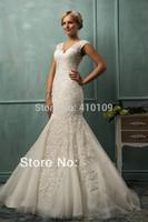 free shipping Custom Made New Mermaid V-neck Lace Beading Sexy Bridal Wedding Dresses