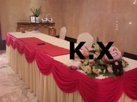 2pcs Ivory And Fuchsia Color  Ice Silk Fabric Table Skirt With Drape Swags