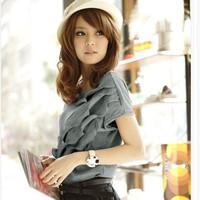 2014 Free Shipping Hot Sale Fashion Three-dimensional SculptLotus Leaf Short Sleeve Cotton T-shirt White/Grey OG14031104