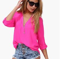 Fashion Woman's Blouse Lady's Shirt Chiffon Blouse Free Shipping