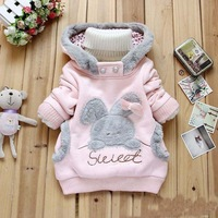 Winter Small Baby Hoodies Sweatshirts Cartoon Rabbit Girl Hoody Coat Korean Thicken Wool Keep Warm Kids Hoodies WD314