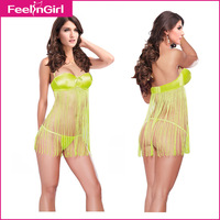 Women Hot Sexy Cheap Babydoll Light Green Fringes Babydoll Sleep Wear Lace Nightdress Sexy dress Pajamas For Women 45