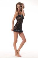 Sexy Women Lady Lingerie Lace Mini Dress Underwear Babydoll Sleepwear+G-String Set Black  0S 202