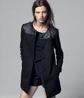 2015 Leather Patchwork Women Long Woollen Coat,Spring Autumn Female Wool Blends Overcoat Outwear casacos femininos SV07 SV007031