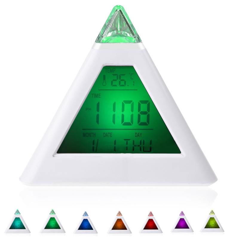 7 LED Color Changing Pyramid Digital LCD Snooze Alarm Clock Triangle Thermometer C/F relogio de mesa reloj despertador(China (Mainland))