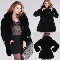 winter coat women leather jacket  long sections  velvet mink fur mink coat mink hooded whole Slim models faux fur coat / 711