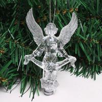 5pcs/lot hot sale 10cm crystal acrylic flashing LED Christmas angel decoration Christmas tree ornaments