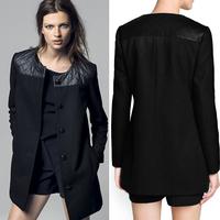 Free Shiping Fashion Winter Coat Women Faux Leather Jackets Woolen Patchwork Long Trench Coat Windcoat Winter PU Overcoat G477