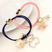 Hair accessory hair accessory pearl hair accessory bow tousheng rubber band hair rope headband
