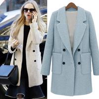 2014 New Design Spring/Winter Trench Coat Women Long Warm Wool Jacket European Fashion Overcoat Double Breasted women outwear