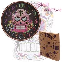 2014 New bedroom Creative Art Round Pointer skull wall clock