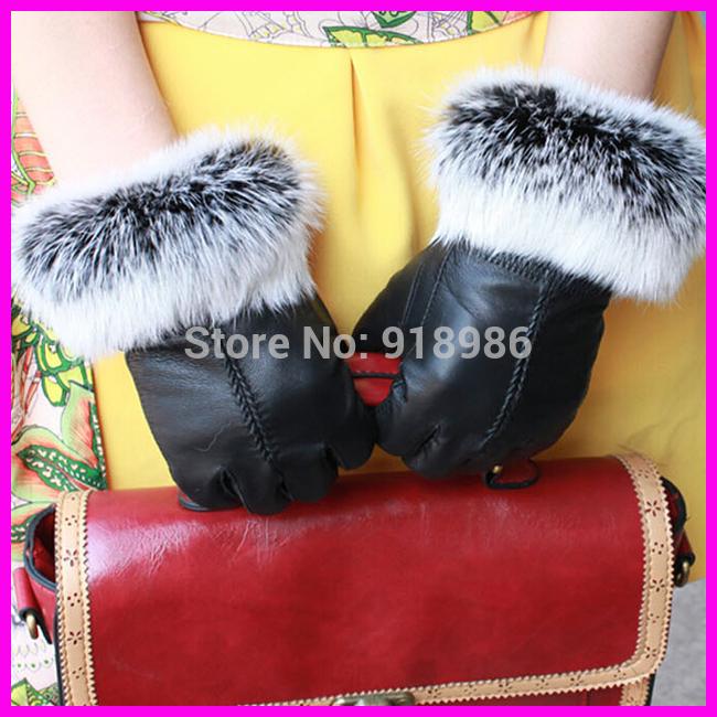 Christmas Gift Fur Gloves Women Winter 100% Real Rabbit Fur Sheepskin Gloves Female Thermal Genuine Leather Gloves mittens(China (Mainland))