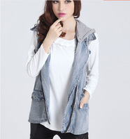 Free drop shipping sleeveless denim jackets women casual hooded denim vest for autumn and winter good quality Free size