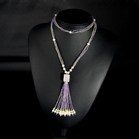 Very Thai import natural amethyst sweater chain fashion necklace handmade knitting wild