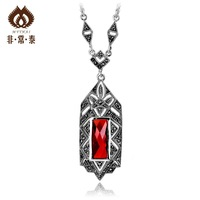 Very Thai Thai silver hollow rectangle original vintage necklace 925 silver jewelry gifts Ms.