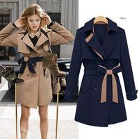 Casual New 2015 Winter Women Trench Long Type Cardigan Trench Coat  US & European Style Big Size XXXL Women Coat Free Shipping