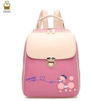 Back pack kpop fashion brand leather designer backpack women color block cartoon school backpacks mochilas girls stylish bagpack