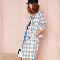 FREE SHIPPING 2014 new Autumn winter British Vintage double-breasted gray and white squares trench coat for women XS-XXL