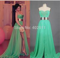 Long Evening Dresses Strapless Sleeveless Backless Split Side A-line Floor-length Chiffon Natural Waistline Spring Dresses